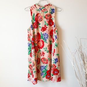 Everly Pink Floral High Neck Dreams Dress sz S